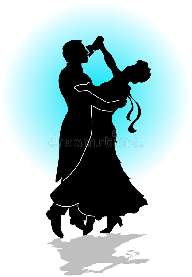 Waltz Dance. Silhouette illustration of a couple dancing the waltz