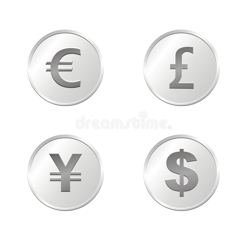 Walut monety - srebro royalty ilustracja