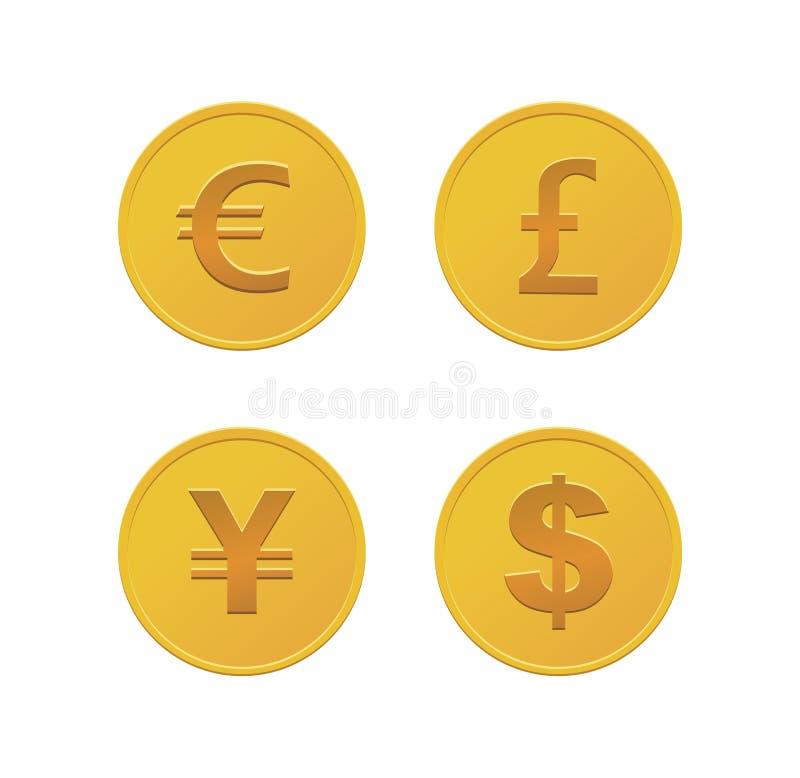 Walut monety - złoto ilustracji
