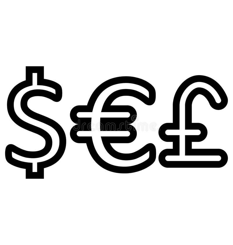Waluta, dolar, funt Lub Euro Odosobniony Wektorowy ikony use dla projektów, podróży i wycieczki turysycznej royalty ilustracja
