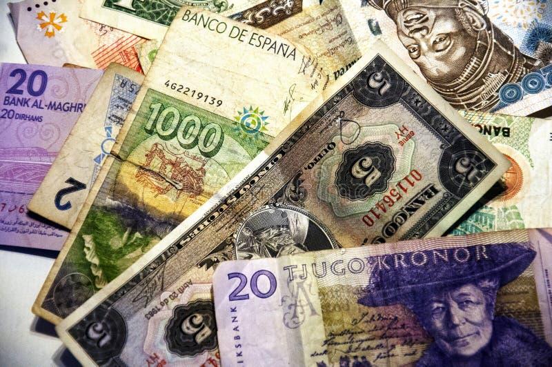 Waluta, pieniądze, banknoty różni kraje zdjęcie royalty free
