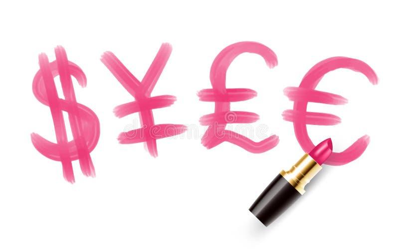 Waluta symbol i znak piszemy pomadek menchii kolorem, Finansowa pojęcie projekta ilustracja odizolowywająca na białym tle z kopią royalty ilustracja