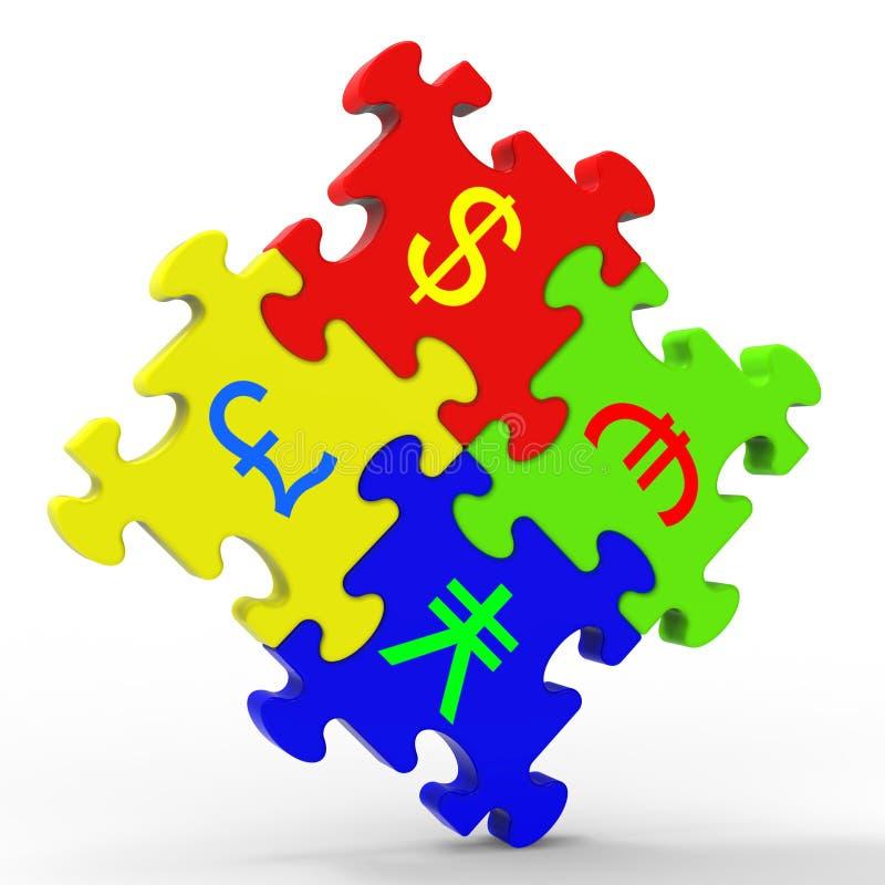 Waluta symboli/lów łamigłówka Pokazuje Globalną inwestycję ilustracja wektor