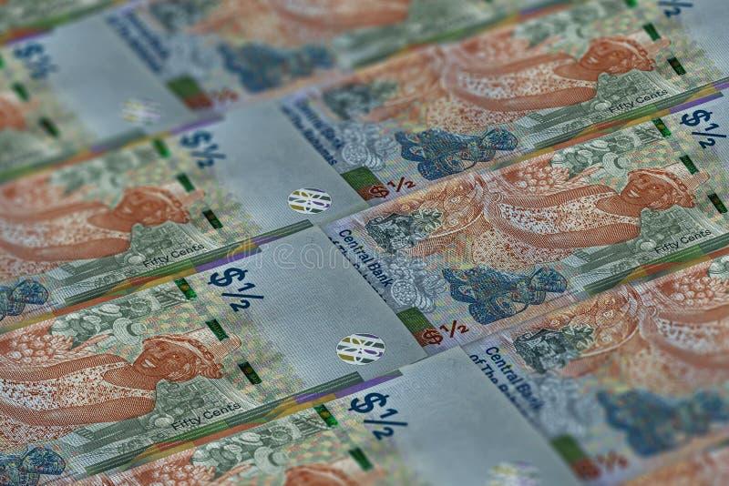Waluta tła Bahamów Wzorzec dolarów BSD 50 cent zdjęcia stock