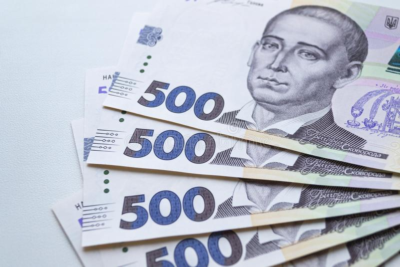 Waluta ukraińska Nowe banknoty na Ukrainie zdjęcie stock