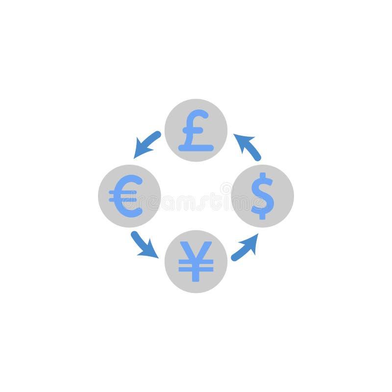 Waluta, wymiana, przepływ, pieniądze dwa barwi błękitną i szarą ikonę royalty ilustracja