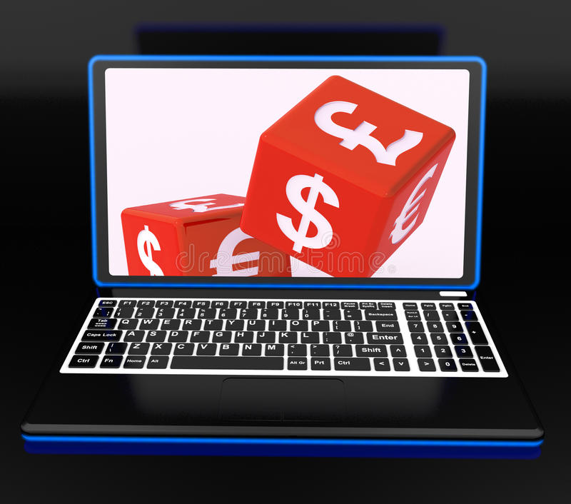 Waluty Dices Na laptopie Pokazuje Globalnych finanse ilustracja wektor