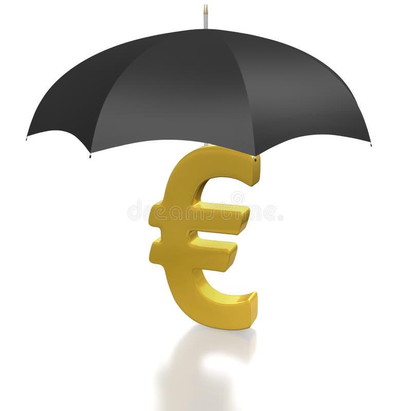 waluty euro ochraniający szyldowy parasol royalty ilustracja