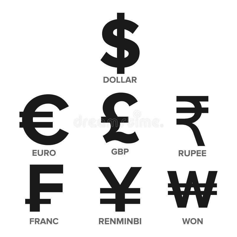Waluty ikony Ustalony wektor pieniądze Sławna Światowa waluta Finansowa ilustracja Dolar, euro, GBP, rupia, frank, Renminbi royalty ilustracja