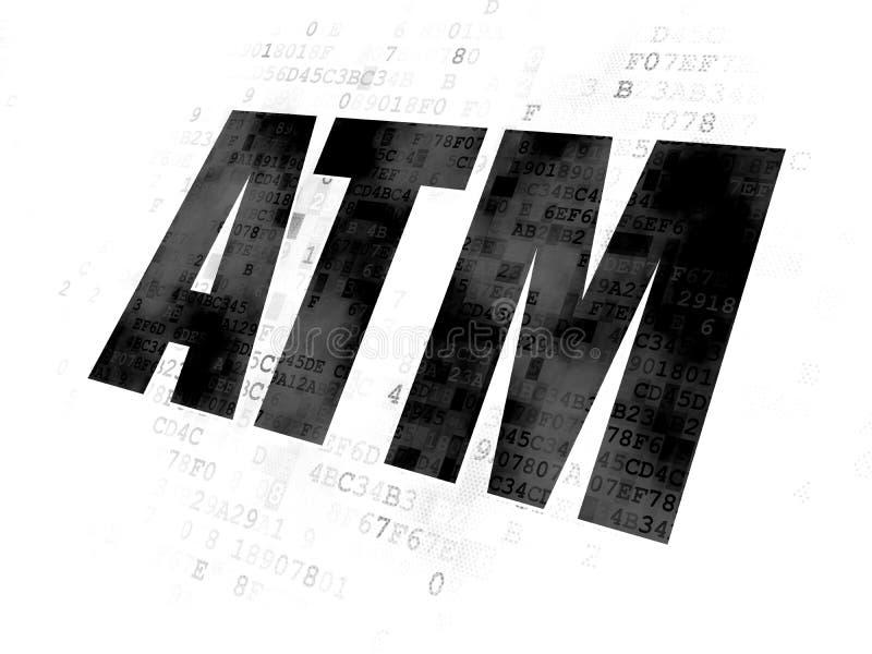 Waluty pojęcie: ATM na Cyfrowego tle ilustracji