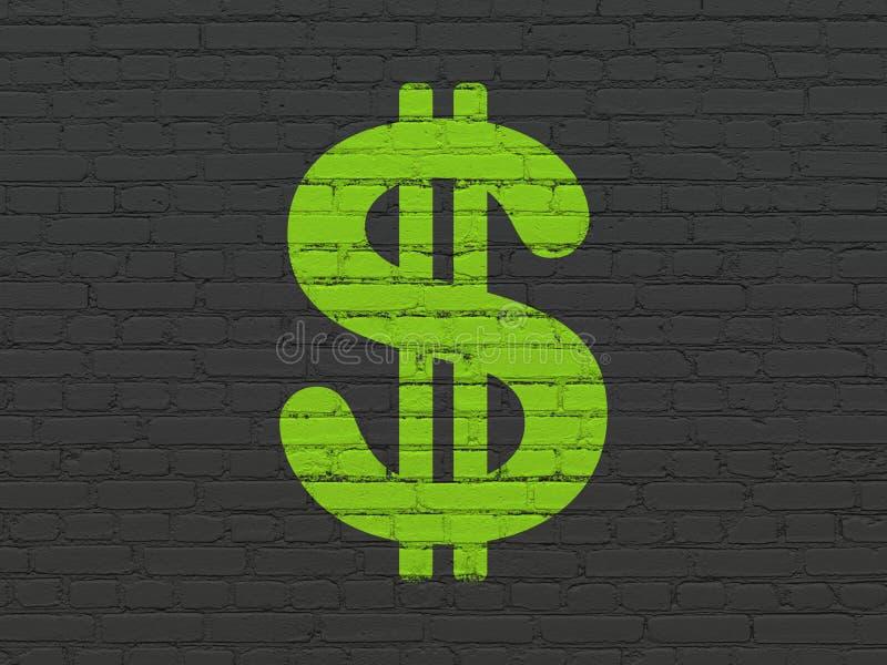 Waluty pojęcie: Dolar na ściennym tle royalty ilustracja