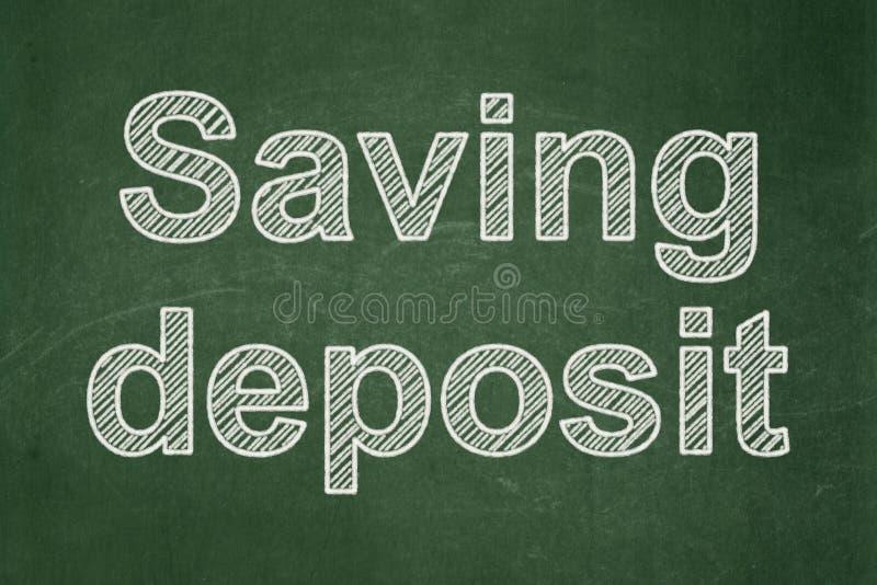Waluty pojęcie: Oszczędzanie depozyt na chalkboard tle royalty ilustracja