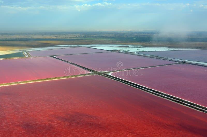 Walvis海湾的盐厂 库存图片