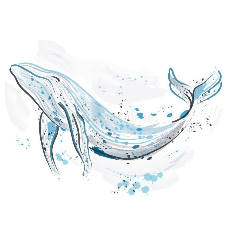walvis Retro hand getrokken vectorillustratie Kaart, druk, t-shirt, prentbriefkaar, affiche vector illustratie