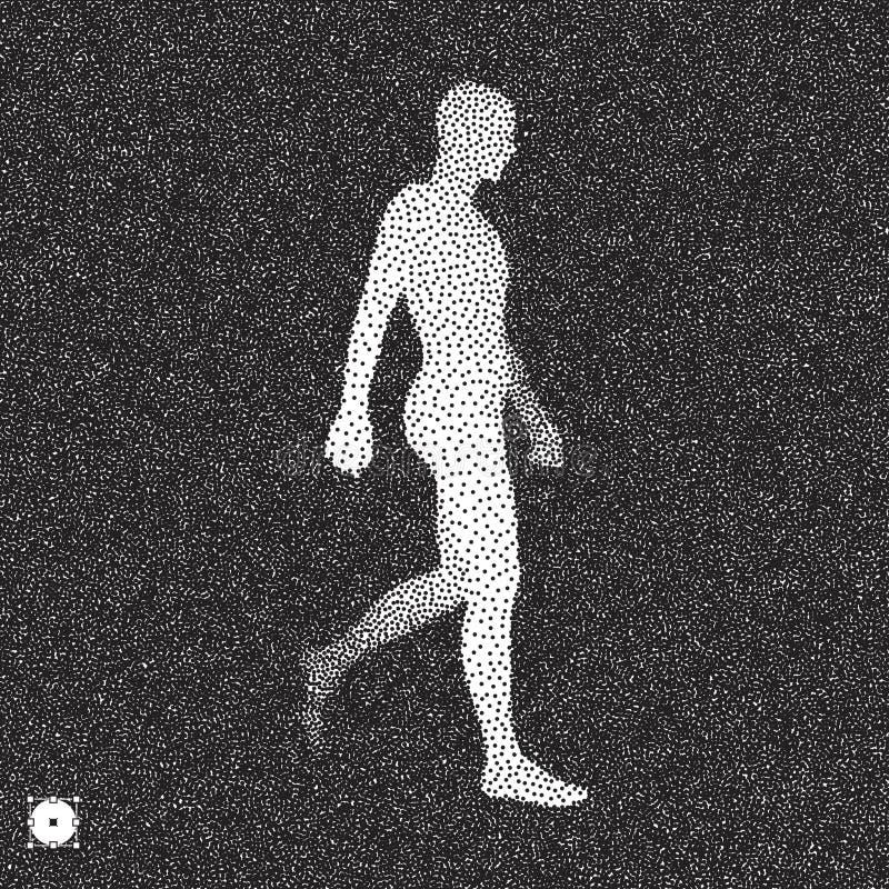 Walvisman 3D Menselijk Lichaamsmodel Zwart-wit, korrelig design Stippled illustratie royalty-vrije illustratie