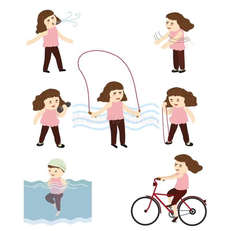 Waman представляет в различном положении йоги, тренировке для престарелого бесплатная иллюстрация