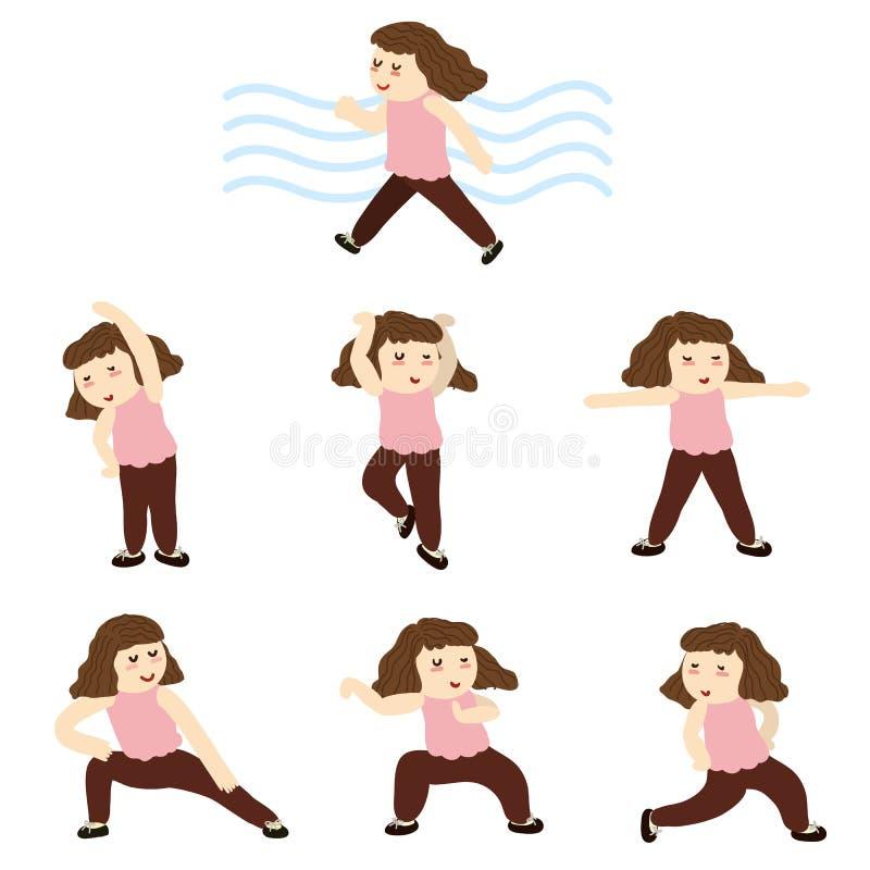 Waman posa in varia posizione di yoga, esercizio per gli anziani illustrazione di stock