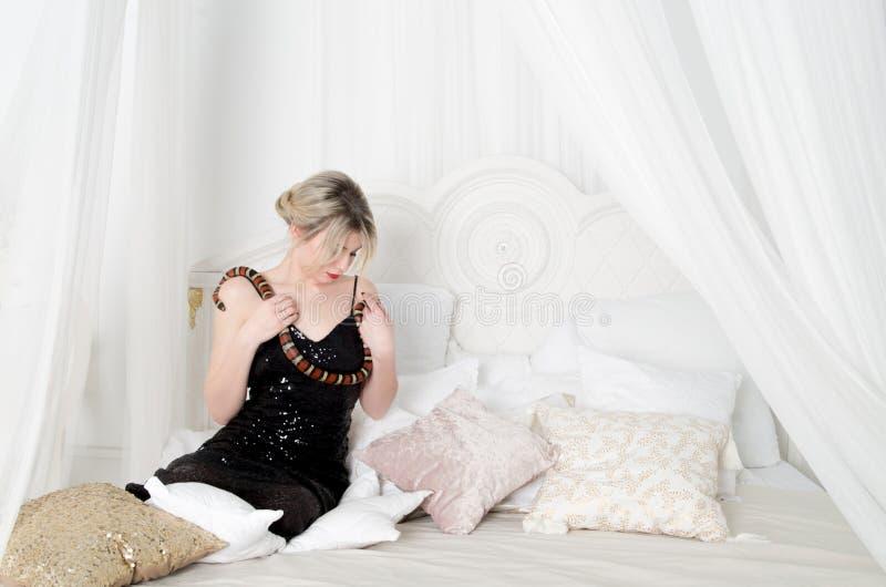 Wampir dziewczyna z wężem zdjęcia royalty free
