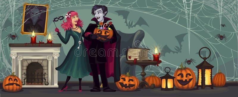 wampiry Halloween przyj?cie kostium maskarada ilustracja wektor