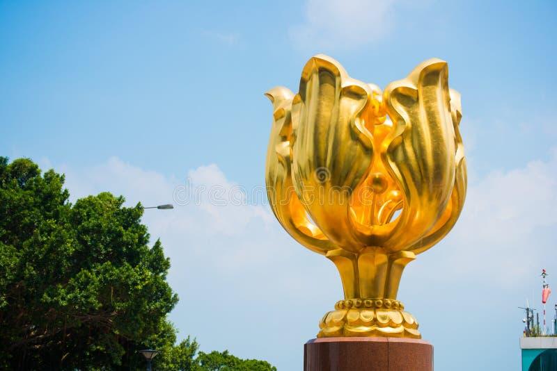 Wan Chai, Hong Kong - 23. September 2016: Der goldene Bauhinia herein lizenzfreie stockbilder