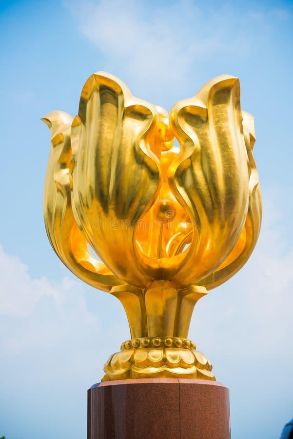 Wan Chai, Hong Kong - September 23, 2016 :The Golden Bauhinia in royalty free stock image