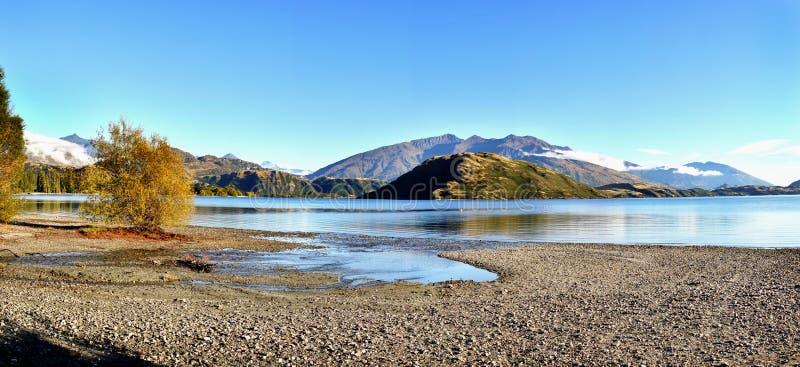 Wanaka Lake Panorama, New Zealand stock photography