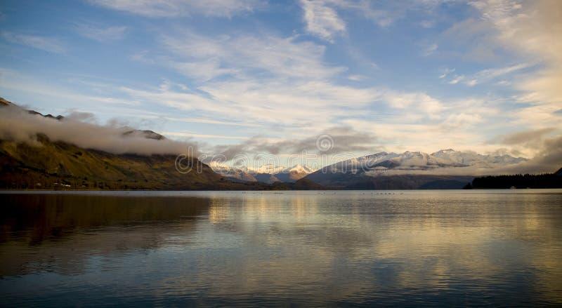 Wanaka Sunrise. The Mount Aspiring National Park provides amazing views from nearby Lake Wanaka royalty free stock photo