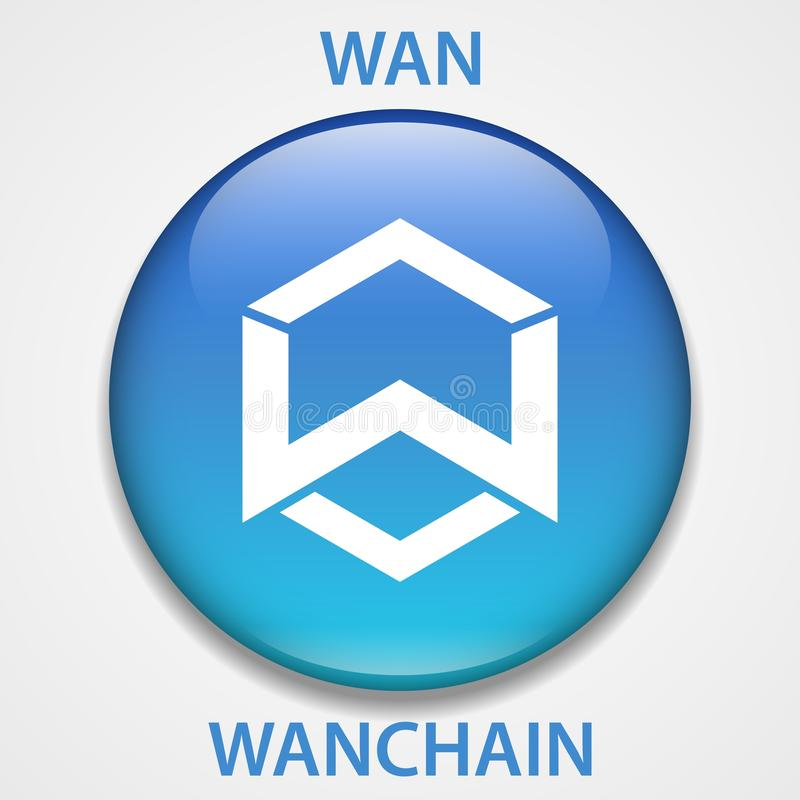 WanChain Coin cryptocurrency blockchain icon. Virtual electronic, internet money or cryptocoin symbol, logo.  vector illustration