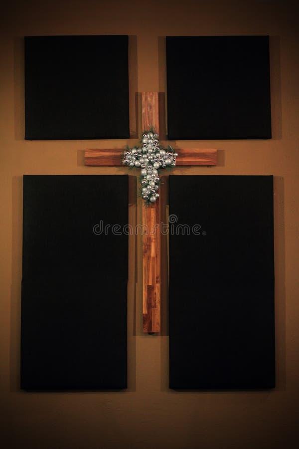 Wand Art Wooden Cross stockbilder