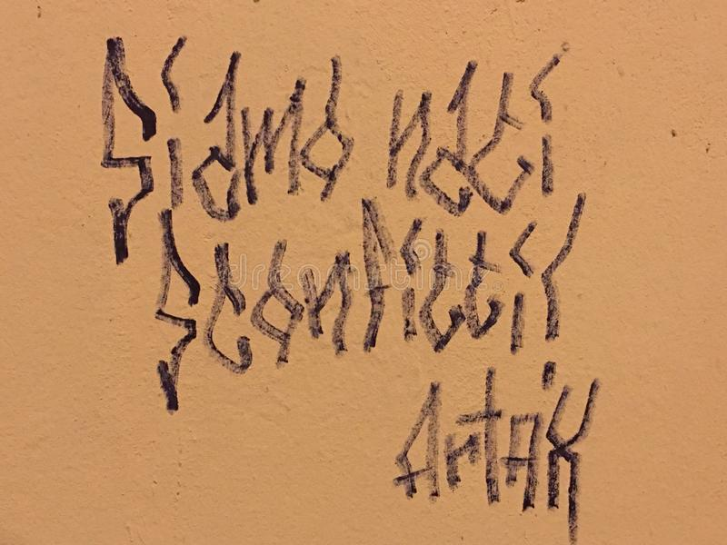 "Wand-Beschriftung ""We waren geborenes Defeatedâ€- im Bologna u. x28; ITALY& x29; , €œSiamo Scritta Murale  Nati Sconfitti† stockbild"