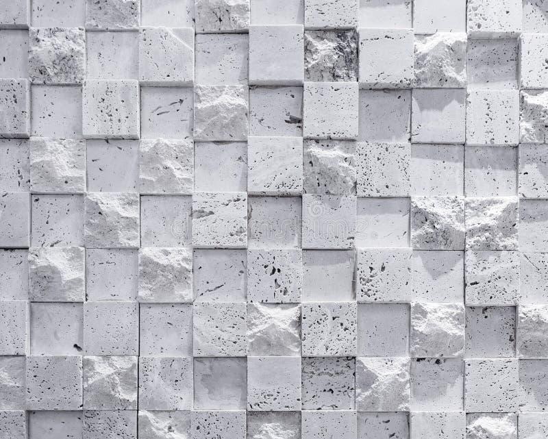 Wand deckt Kubikmusterbeschaffenheitshintergrund mit Ziegeln lizenzfreie stockbilder