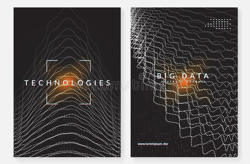 Wand der hölzernen Latten Technologie für große Daten, künstlich herein lizenzfreie abbildung