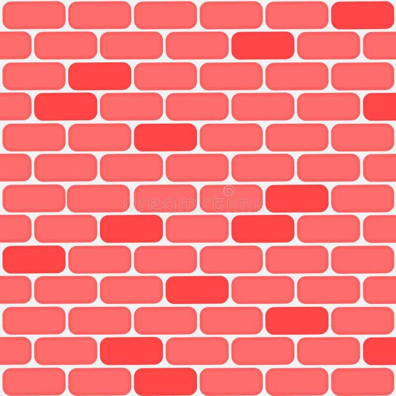 Wand des roten Backsteins maserte Musterhintergrund, Karikaturartvektor-Kunstillustration lizenzfreie abbildung