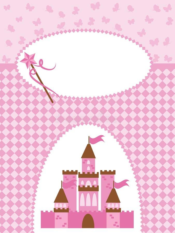 wand för princess för kortslottinbjudan stock illustrationer