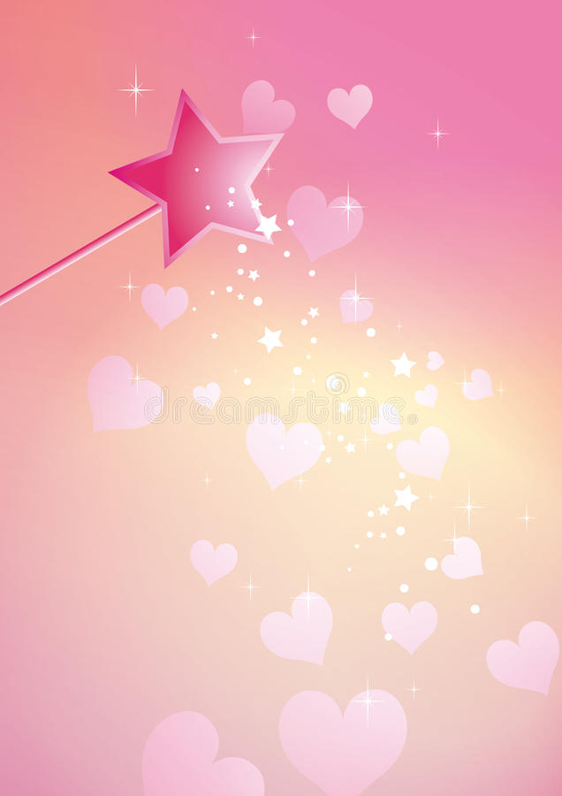 Download Wand hearts stock vector. Image of background, magical - 28620644