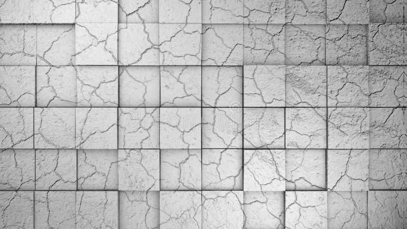 Wand hergestellt von gebrochenem verlegtem Würfelhintergrund 3d übertragen stock abbildung