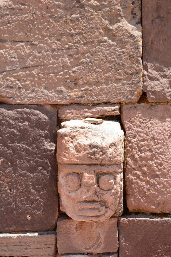 Wand in Kalasasaya-Tempel Archäologische Fundstätte Tiwanaku bolivien lizenzfreies stockbild