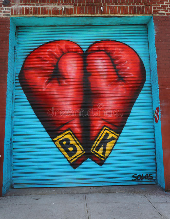 Wand- Kunst in Ost-Williamsburg in Brooklyn lizenzfreie stockfotos
