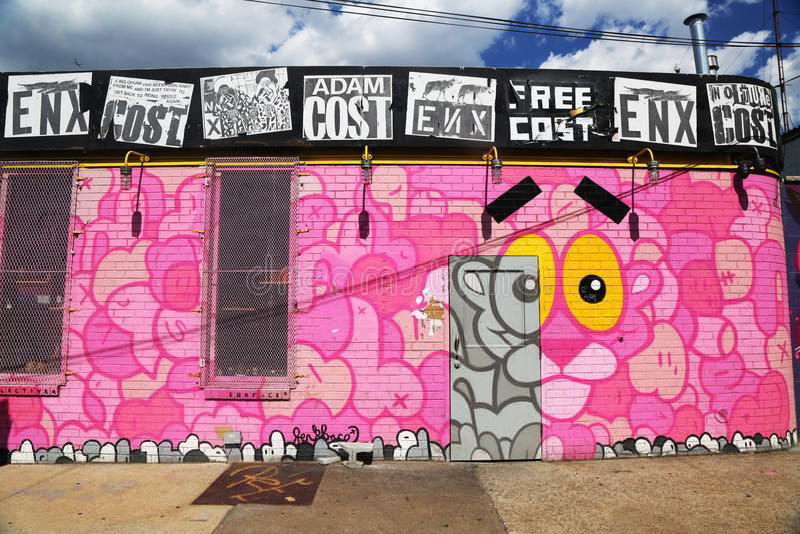 Wand- Kunst in Ost-Williamsburg in Brooklyn lizenzfreie stockbilder