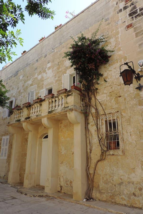 Wand in Mdina, Malta lizenzfreie stockfotos