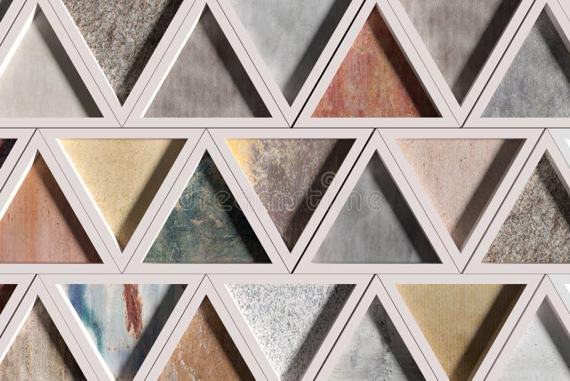 Wand mit Dreiecken von verschiedenen Materialien in den weißen Rahmen lizenzfreie abbildung