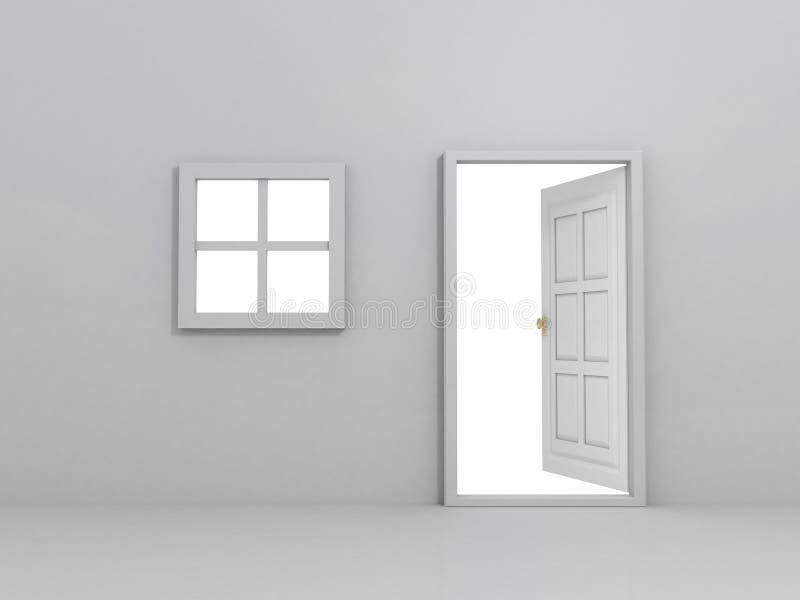 Wand mit Fenster und geöffneter Tür stock abbildung