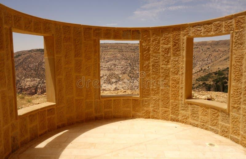 Wand mit Fenstern Dana Biosphere Reserve Jordan lizenzfreie stockfotos