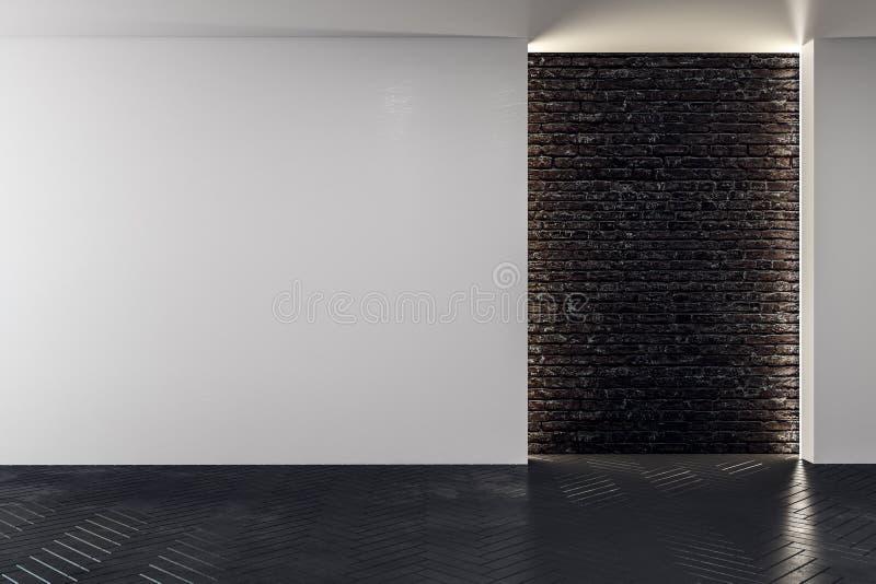 Wand mit leerer Fahne im modernen Innenraum lizenzfreie abbildung