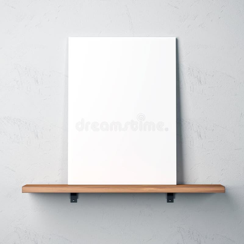 Wand mit Regal und leerem Plakat lizenzfreie stockfotos