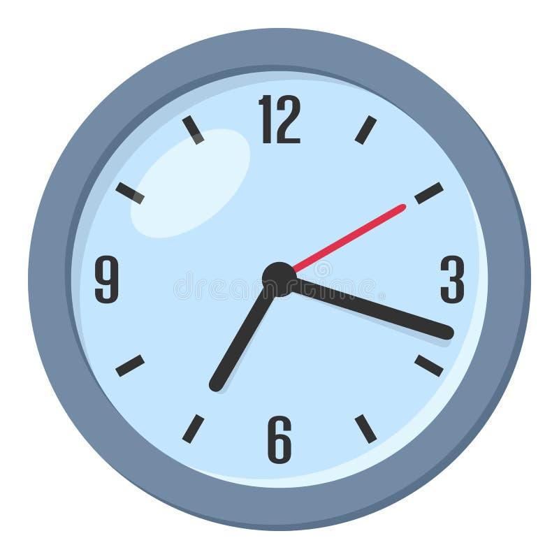 Wand-runde Uhr-flache Ikone lokalisiert auf Weiß stock abbildung