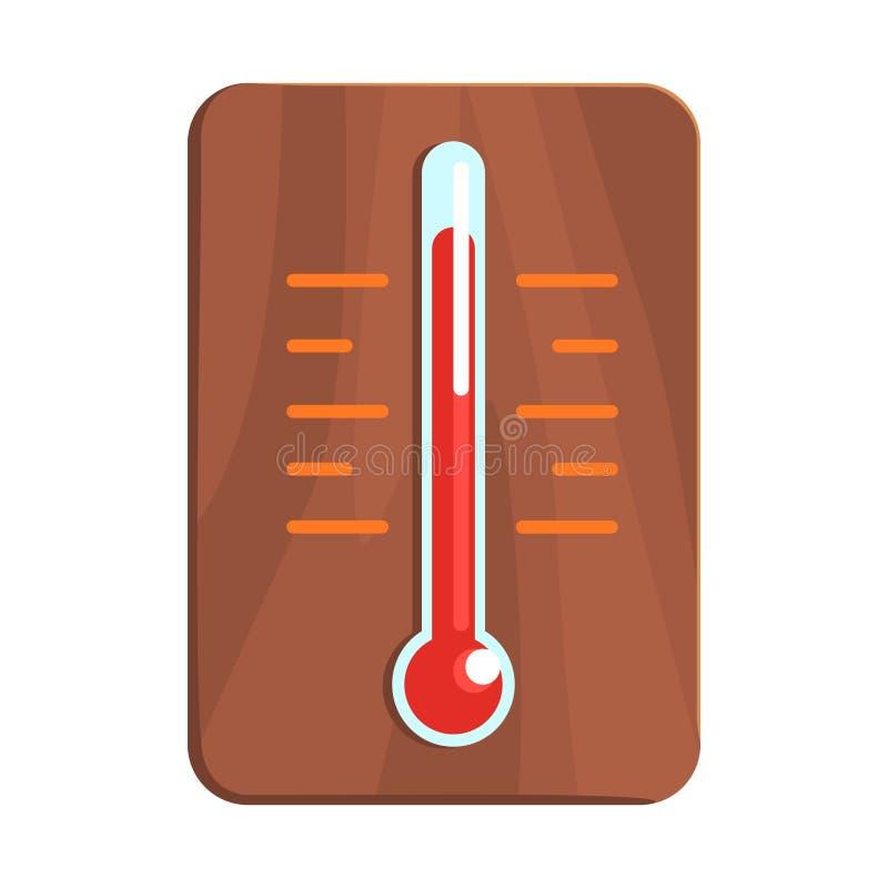 Wand-Thermometer, der hohe Hitze, Teil russische Dampf-Haus-Reihe flache lustige Karikatur-Illustrationen zeigt vektor abbildung