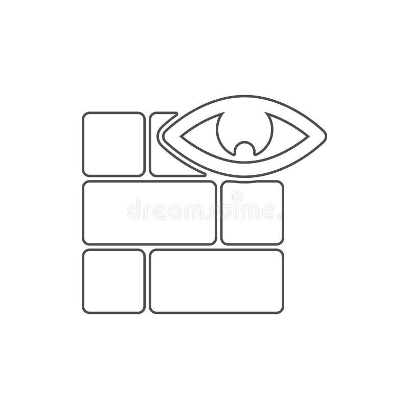 Wand- und Augenikone Element des Netzes für bewegliches Konzept und Netz Appsikone Dünne Linie Ikone für Websitedesign und Entwic lizenzfreie abbildung