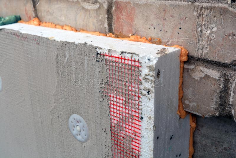 Wand- und Grundlagenisolierung mit Polystyrenbaustruktur lizenzfreie stockfotos