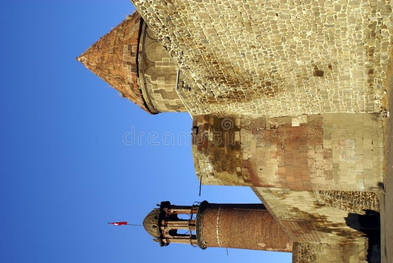 Wand und Kontrolltürme in Erzurum stockbilder